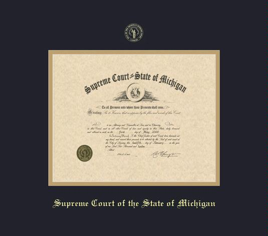 state bar of michigan certificate supreme court of the state of michigan frame with black and gold double mat and gold embossing - Michigan State Diploma Frame