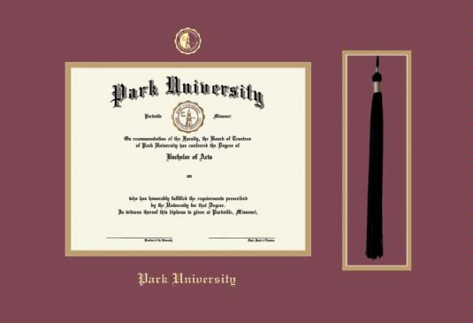 park university diploma frame with tassel cut out and maroon and gold double mat and gold embossing approximate frame size 17 x 23 inches - Diploma Tassel Frame