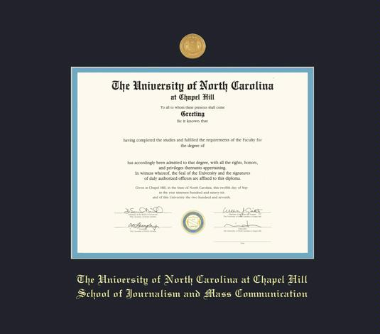 custom diploma frames certificate frames framing success unc  university of north carolina at chapel hill diploma school of journalism and mass communication pre 8 15 frame medallion and black and sky blue