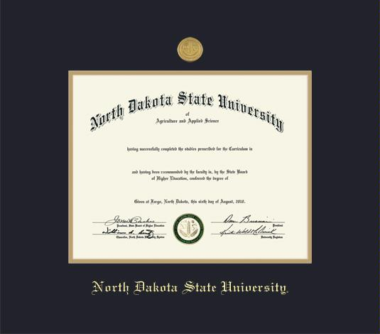 North Dakota State University Diploma Frame With Medallion And Black Gold Double Mat Embossing Roximate Size 17 X 19 Inches