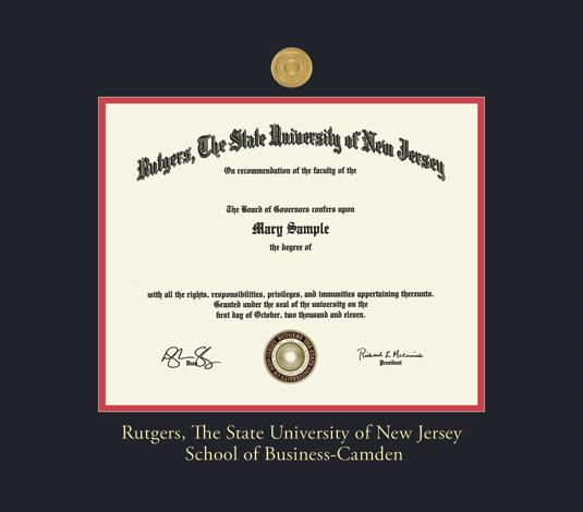 Rutgers University Diploma Upgrade 11 X 14 School Of Business Camden Frame With Medallion And Black Red Double Mat Gold Embossing