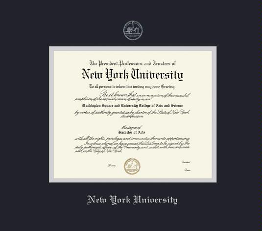 new york university diploma frame with black and silver double mat and silver embossing approximate frame size 19 x 22 inches