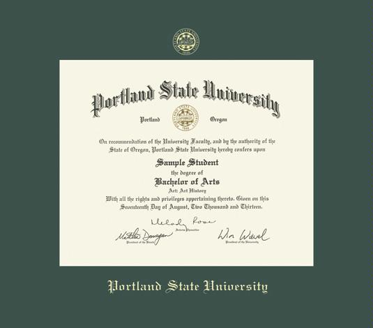 portland state university diploma bama frame with green mat and gold embossing approximate frame size 15 x 17 inches