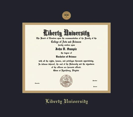 liberty university diploma ba 816 to present frame with medallion and black and gold double mat and gold embossing approximate frame size 17 x 19 - Diploma Frame Size