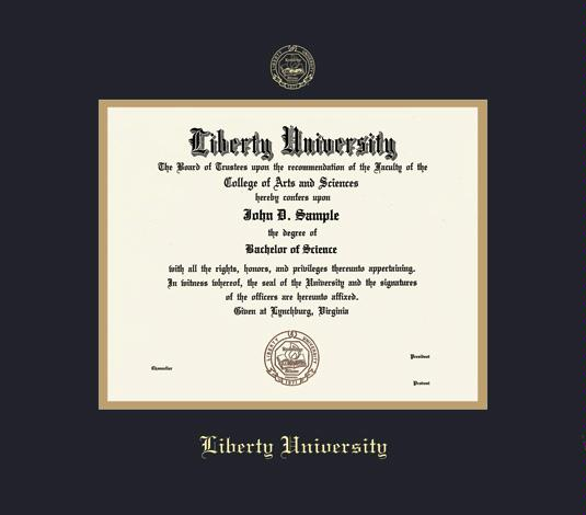 liberty university diploma ba pre 816 frame with black and gold double mat and gold embossing approximate frame size 17 x 19 inches