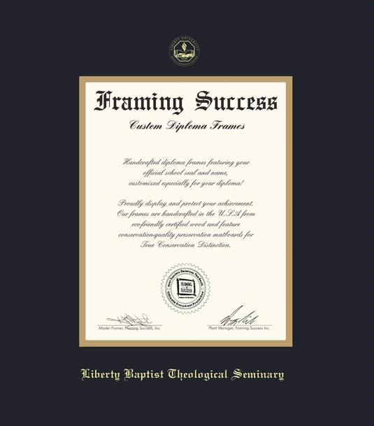 liberty university diploma baptist theological seminary 212 to 915 frame with black and gold double mat and gold embossing