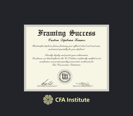 cfa institute charter 17 x 22 912 to present frame with black and gray double mat and gold embossing approximate frame size 23 x 28 inches - Diploma Frame Size