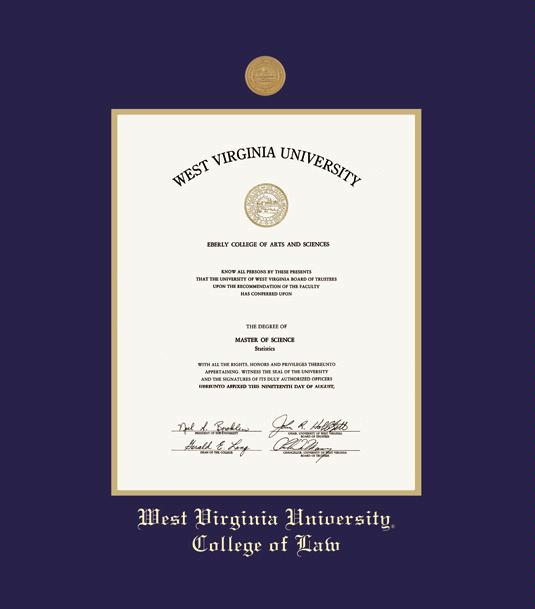 west virginia university downtown campus diploma school of law frame with medallion and navy blue and gold double mat and gold embossing - Wvu Diploma Frame