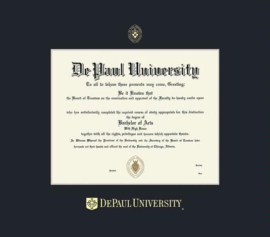 Custom Diploma Frames & Certificate Frames - Framing Success: DePaul U ...